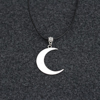 Moon Choker Necklace Pendant Statement Locket Cord Collar 90s Leather Harness Dress Trendy Boho String Tattoo Bdsm Grunge