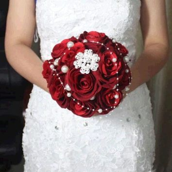 DCCKIX3 red handmade Wedding bouquet flower flannelette pearl diamond Bride Hands Holding Rose Flower Wedding Bridal Bridesmaid Flower = 1930210372