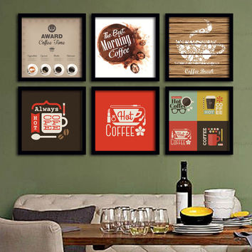 Coffee Time Theme Wall Display Retro Pop Art Posters for SOHO Office Cafe Bistro Coffee Shop Chef Kitchen DIY Home Decor Interior Designs Canvas Print Framed Art Painting