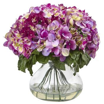 Silk Flowers -Blue Hydrangea With Large Vase Artificial Plant