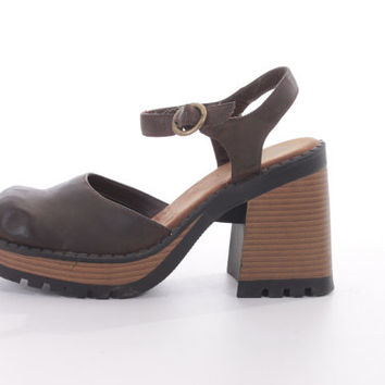 90s Chunky Leather Platform Sandals Brown Boho Hipster Vintage Shoes Womens Size US 8.5 UK 6.5 EUR 39