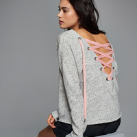 Lace-Up Back Crew Sweatshirt