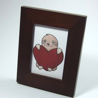 Cute sloth illustration print ACEO