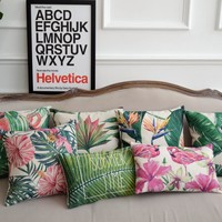 Decorative Pillow with  Flamingos & Tropical Plant cover
