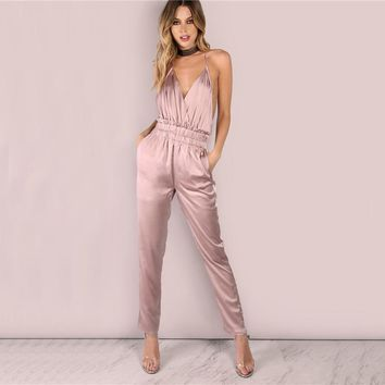 Dusty Pink Satin Slip Jumpsuit