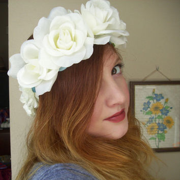 White Rose and Pale Blue Flower Crown
