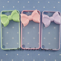 Bow iPod touch 5 case,Mint green/pink/white/black/purple side clear case cover