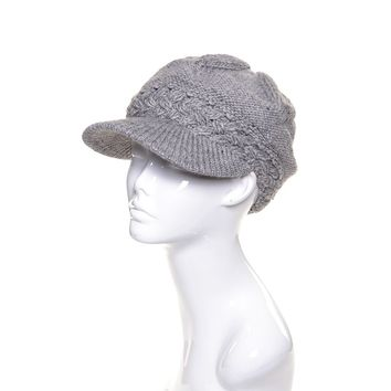 Womens Wool Metallic Beanie Visor Lined
