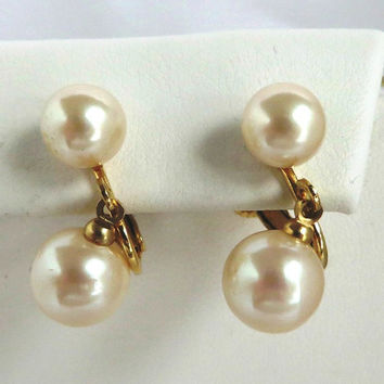 Vintage Marvella Faux Pearl Dangle Earrings, Screwback Clip-on Gold Tone Bridal Jewelry