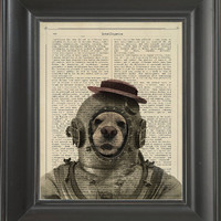 An Diver dog-  Printed on intelligence page  -  250Gram paper.