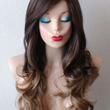 Brown / Ash brown blonde Ombre wig.  Long curly hair long side bangs Durable heat resistant wig for daily use or cosplay