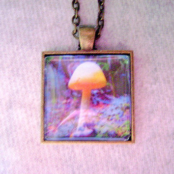 Mushroom Necklace, Psychedelic Pendant, Mushroom Pendant, Mushroom Glass Photo Locket,Neon Mushroom,Natural Necklace,Mushroom Charm Necklace