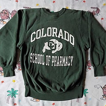 Vintage 90's Colorado School Of Pharmacy Champion Reverse Weave pullover Sweatshirt, size Large soft worn in USA made College