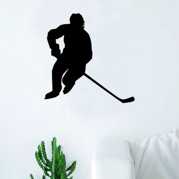 HockeY Player V8 Wall Decal Sticker Vinyl Art Bedroom Room Home Decor Quote Kids Teen Baby Boy Girl Nursery School Fitness Inspirational Ice Skate NHL