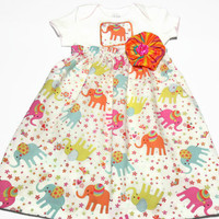 Baby Bodysuit Dress,  Baby Girl Summer Clothes, Elephants