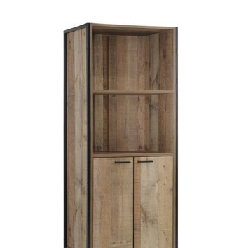 Natural rustic reclaimed finish wood wide TV stand side tower book shelf with metal accents