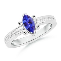 Solitaire V-prong Marquise Tanzanite Rope Braided Shank Ring