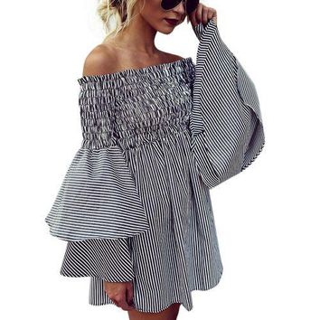 Womens Holiday Off Shoulder StripeParty Ladies Casual Dress Long Sleeve Dress