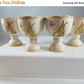 Christmas Sale Bunny Egg Cups, Four Egg Cups, Rabbit Egg Cups  (964)