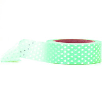 Silver Foil Polka Dots Washi Tape | Mint Washi Paper Tape | Japanese Washi Paper