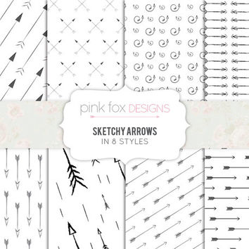 Hand Drawn Arrow patterned Sketchy Digital Paper Pack 8 Printable Sheets black and white grey Scrapbook Paper