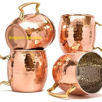4 PCS Free Shipping 450ml  Copper Plated Barrel Hammered Moscow Mule Mug Coffee Cup Beer Cup Set of 4