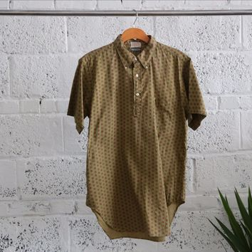 Vintage 1960's Men Half Button Down Short Sleeve Shirt