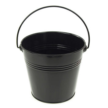 Metal Pail Buckets Party Favor, 5-inch, Black