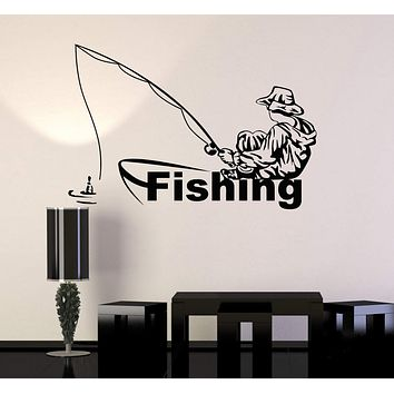 Vinyl Wall Decal Fishing Club Fisherman Boat Stickers Murals Unique Gift (ig4845)