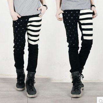 Spring and autumn men's clothing fashion five star print american flag denim  jeans male skinny pencil pants trousers