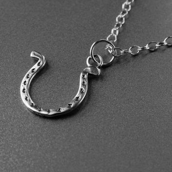 Horse shoe pendant, Necklace, Solid Sterling Silver Pendant and Chain,