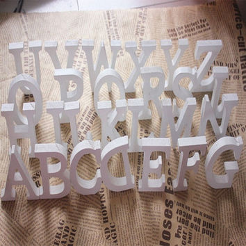 8cmX1.2cm Freestanding Wood Wooden Letters White Alphabet Wedding Birthday Party Home Decorations = 1931951684