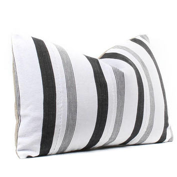 Vintage Striped African Cloth Pillow Cover, Boho Pillow, Black, White, Ethnic, Textile, Handwoven, 11x19, SKU090710