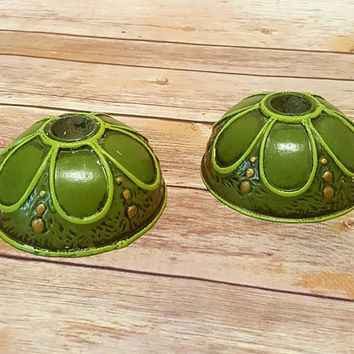 Vintage Green Taper Candle Holder Pair - FF Japan - Fitz & Floyd - Painted Ceramic - Avocado Olive Green Gold - Candle Stick - 1970s