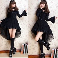 Kawaii GOTHIC PUNK LOLITA ALICE swallow tail DRESS +CHOKER S-L 81145 Black