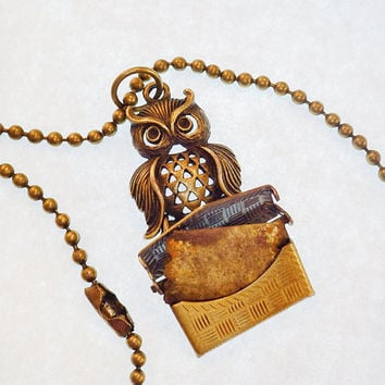 Snowy owl bronze pendant necklace with envelope locket, message inside