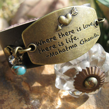 Leather Cuff bracelet, interchangeable charms, Where there is Love.....
