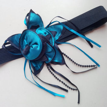 Blue flower headband,blue and black ribbon and flower headband, party, gift, unique item.