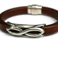Unisex Leather Bracelet Brown Licorice Leather Bracelet Statement Bangle Silver Infinity Tube Focal Silver Magnetic Clasp PPP Gift Ideas