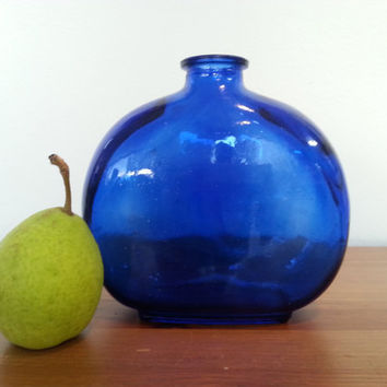 Cobalt Blue Glass  Vase, Flower Vases, Round  Glass Bottles, Vintage Blue Bottle Apothecary, FREE US Shipping