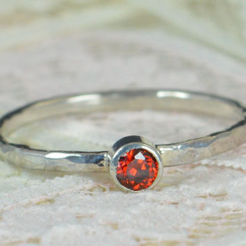 Garnet Engagement Ring, Sterling Silver, Garnet Wedding Ring Set, Rustic Wedding Ring Set, January Birthstone, Sterling Silver Garnet Ring