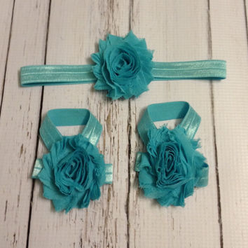 Baby Barefoot Sandal Headband Set...Teal Barefoot Sandals...Teal Baby Girl Headband