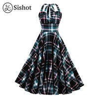 Women Retro Dress Summer Green Plaid Halter Sleeveless Knee Length Standard-Waist A Line Sexy Vintage Dresses