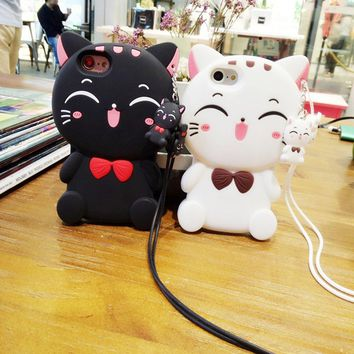 """Case for iPhone 7,Vivid Lucky Cat Shaped Animal Fashion Design 3D Cute Cartoon Character Protective Skin Soft Rubber Silicone Case Back Cover for iPhone 7 (4.7"""" Inch) (Black Cat)"""