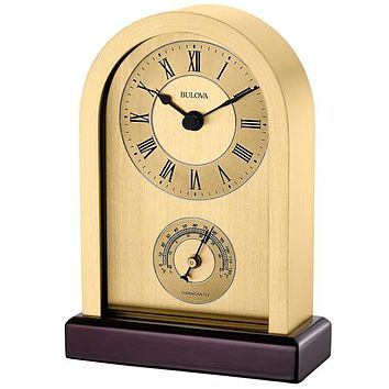 Bulova Harding Desk Clock - Brass-Finished Metal Case - Cherry Stained Wood Base
