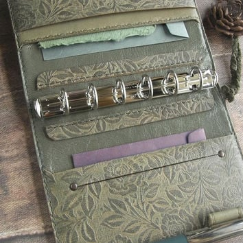 leather binder, hand dyed, veg tanned, antique moss green, leather planner, for filofax refills, rose planner, natural diary, buffalo