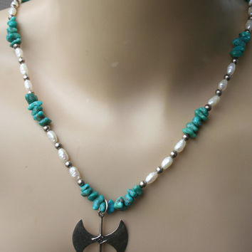 SALE ..Vintage Native American Sterling Silver Turquoise , Mother of Pearl  Beads   Necklace with  Tomahawk pendant