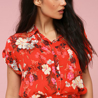 Kaia Red Floral Print Button-Up Top