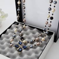 Simulated Pearl  Necklace   Pendant  Long  Cross Necklace