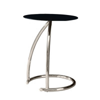 Chrome Metal Accent Table With Black Tempered Glass